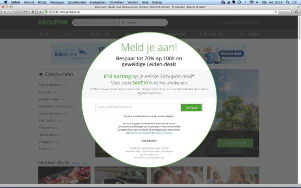 geef korting of coupon in ruil voor emailadres lead magnet voorbeeld Groupon