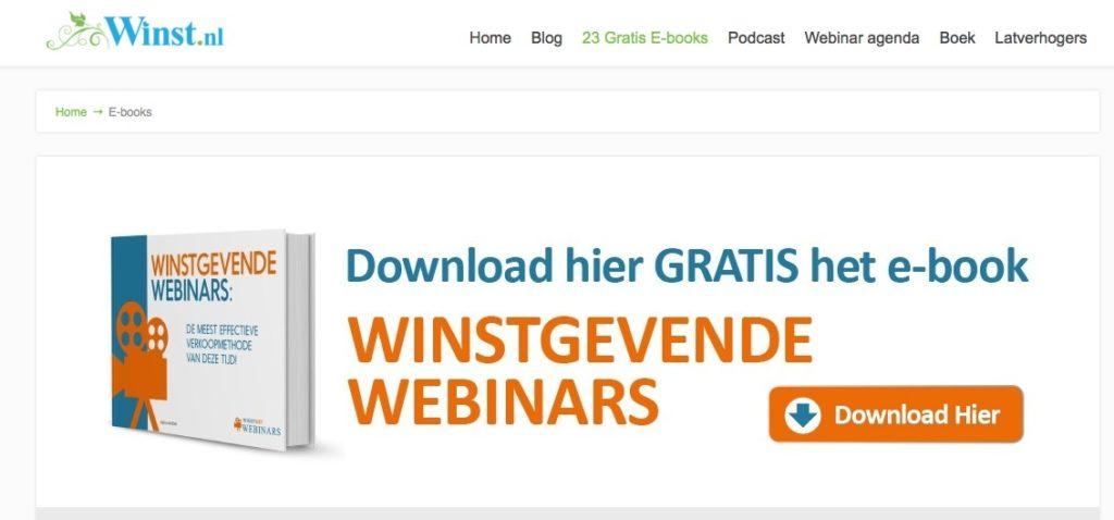 Download ebook winstgevende webinars - lead magnet optin